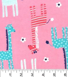 Snuggle Flannel Fabric-Patterned Giraffes