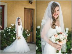 Fine edge to veil and soft waves. Navy and Peach DIY Wedding From Anita Martin Photography