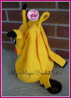 Mochila Pikachu a Ganchillo por MyMagicCrochetUS en Etsy