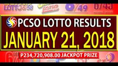 PCSO Lotto Results - January 21, 2018 | 6/58, 6/49, SWERTRES & EZ2 LOTTO Lotto Results, January 2018, December 26, July 24, Youtube, Youtubers, Youtube Movies