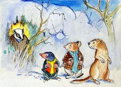 The Wind in the Willows: Rat, Mole Badger and Weasel (Original) by Wind in the Willows (Mendoza) at The Illustration Art Gallery