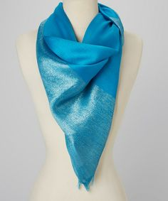 Turquoise Shimmer Silk-Blend Scarf