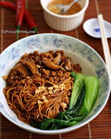 Egg Noodles with Pork and Mushroom Sauce (Kon Loh Mee) - - One of my favourite home-cooked dishes that mum used to make is Kon Loh Mee. It's a dry (as. Asian Noodle Recipes, Ramen Recipes, Entree Recipes, Pork Recipes, Asian Recipes, Cooking Recipes, Ethnic Recipes, Yummy Recipes, Fish Recipes
