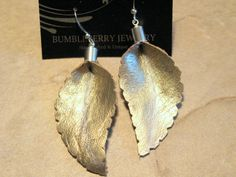 Gold Leather Leaf Earrings    Hypoallergenic by BumbleberryJewelry, $10.00 #leatherearrings