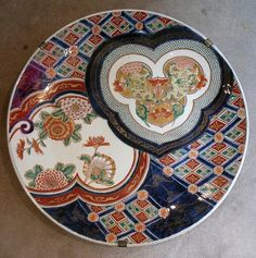 IMARI PORCELAIN PLATE WITH TWO HEART-SHAPED ROUNDELSJapanese More Pins Like This At FOSTERGINGER @ Pinterest