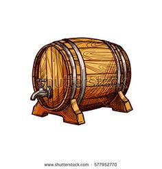 Wooden Barrel Sketch for Alcohol Drink Design by seamartini Wooden barrel of beer or wine sketch. Old oak keg with a tap on wood stand. Bar, pub, winery or brewery symbol, alcoholic drinks d Drink Icon, Beer Keg, Old Pub, Game Props, Object Drawing, Container Design, Vintage Art Prints, Brewery, Alcoholic Drinks