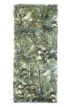 """Leslie Richmond """"Lesley photographs trees, focusing on the intricacy of their branching structures and then prints these images on cloth, using a medium that creates a dimensional surface. She then eliminates selected background areas, leaving the structural images of trees as the dominant feature. The images are then painted with metal patinas and pigments."""""""