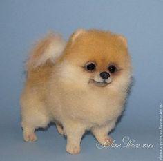 Купить Дейзи - бежевый, шпиц, собака, игрушка из шерсти, игрушка собака, валяная игрушка