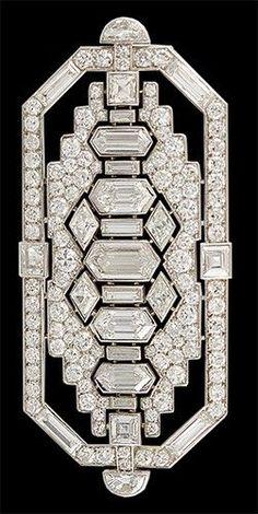 An Art Deco Platinum Diamond brooch #DiamondBrooches