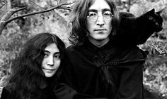 John Lennon with Yoko Ono and Salt, the cat
