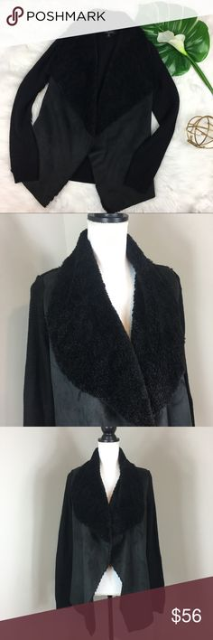 Romeo & Juliet Couture Open Front Cardigan Romeo & Juliet Couture black faux fur open front cardigan. Size medium. Approximate measurements flat laid are 26' long and 26' sleeves. Pre-owned condition with no major flaws. Very comfy!  ❌I do not Trade 🙅🏻 Or model💲 Posh Transactions ONLY Romeo & Juliet Couture Sweaters Cardigans
