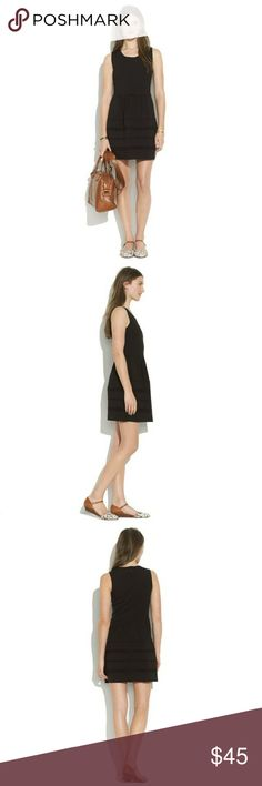 Madewell Little Black Dress Super stretchy- black sleeveless dress. Pockets on both sides-skirt embellished with raised line pattern. Sleeve area is a bit worn as shown in photo. Madewell Dresses Midi