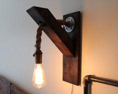 Industrial Lighting-Wood Rope Sconce