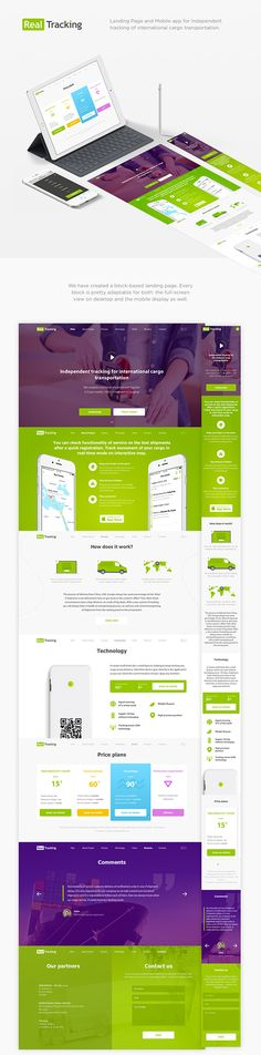 Landing page for tracking web application Homepage Design, Web Ui Design, Web Application, Web Design Inspiration, Green And Purple, Ios, Tracking App, Ui Ux, Website