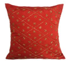 Red Pillow Red Beaded Pillows Red Couch Pillows Red Decorative pillow 16X16 Red Accent Pillows Red Throw Pillows Red Pillows For Sofa