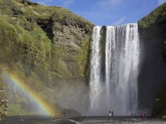 Iceland is home to close to two-dozen waterfalls including Skógafoss, which flows from the watershed between the Eyjafjalla and Mýrdals glaciers.