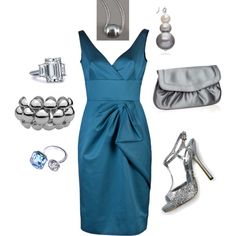 Teal and Silver, created by lilhamp84 on Polyvore.  Cocktail attire?