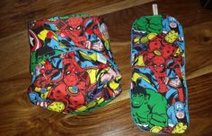 Handmade Marvel Birth to Potty POcket Nappy with Matching Zorb Booster.
