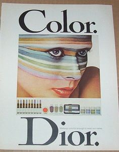 1971 ad page - Christian DIOR Make-up cosmetics COLOR DIOR girl face print AD