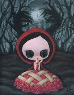 Lowbrow Sugar Fueled Red Ridding Hood Cherry Pie creepy cute big eye art print
