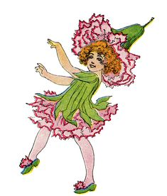 Vintage Flower Fairy Image - Pink Carnation Girl - The Graphics Fairy