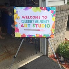 Art Party - Printable Welcome Sign! Artist Birthday Party, Birthday Party Places, Birthday Painting, 6th Birthday Parties, Art Birthday Cake, Birthday Ideas, Tangled Birthday, Tangled Party, Early Education