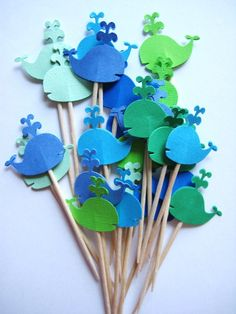 24 Mixed Blue & Green Whales Party Picks - Cupcake Toppers - Toothpicks - Food Picks - die cut punch FP291. $4.99, via Etsy.
