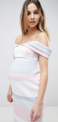 $95 | Super cute maternity dress! | ASOS MATERNITY Bardot Dip Back Pastel Stripe Pencil Dress | maternity outfit | maternity fashion | maternity outfit | maternity style | maternity wardrobe | pregnancy | bump | #affiliate #pregnancydress,