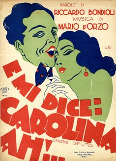 Cover Sheet Music by Carlo InnoCenzi (1899-1962), 1929, E mi dice: Carolina Ah!. (I)