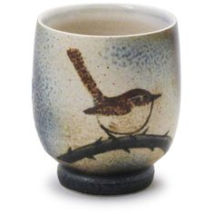 """""""Cup with Wren"""" - Charlie Tefft (white stoneware)"""