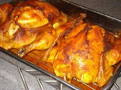 """Buffalo Roast Chicken from Food.com:   The taste of a buffalo wing in a whole roasted chicken!  This would be great with a salad that has bleu cheese. Grandma clipped this from a """"Woman's World"""" magazine and sent it my way.  Spicy!"""