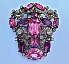 Art Deco Eisenberg Original Purple Pink Rhinestone Vintage Fur Dress Clip