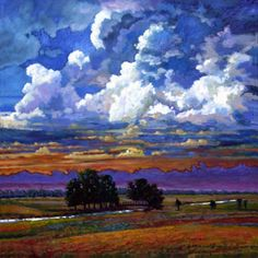 Evening Clouds Over the Prairie by John Lautermilch Oil on Canvas