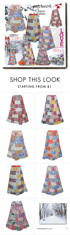 """Women's Vintage Patchwork Skirts"" by era-chandok ❤ liked on Polyvore featuring vintage"