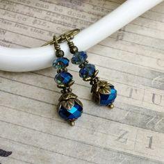 Blue Earrings Crystal Earrings Antique Gold by SmockandStone