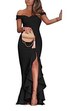 PRETTYGARDE Womens Off Shoulder Flouncing Mermaid Formal Prom Gowns High  Low Party Dress. Fashion Corner aa5c130ff