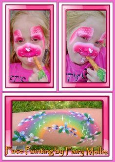 Bunny rabbit & rainbow face paint by Fairy Mellie.