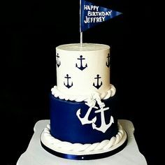 Nautical buttercream birthday cake More
