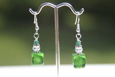 Green squares and white earrings by kimjustice on Etsy, $12.00