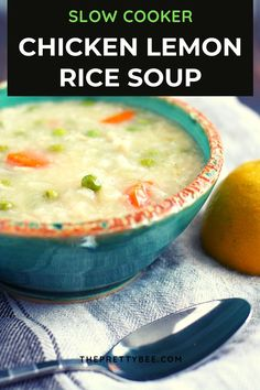 There's nothing cozier than chicken lemon rice soup! It's an easy dairy free, gluten free meal made in the slow cooker. #dairyfree #soup #slowcooker #chicken #rice Slow Cooker Recipes, Crockpot Recipes, Lemon Rice Soup, Lemon Chicken, Slow Cooker Chicken, Gluten Free Recipes, Dairy Free, Yummy Food, Meals