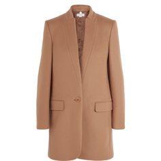 Stella McCartney Bryce wool-blend coat (4 985 PLN) ❤ liked on Polyvore featuring outerwear, coats, jackets, пальто, beige coat, single-breasted trench coats, wool blend coat, stella mccartney coat and stella mccartney