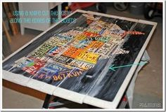 how to podge podge a poster onto pallet