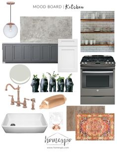 White Gray Copper Rustic Industrial Kitchen
