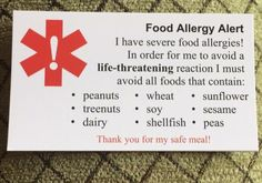 Sample allergy chef card Cashew Allergy, Peanut Tree, I Can Do Anything, Tree Nuts, Food Allergies, Nut Free, Peanuts, Foods, Craft