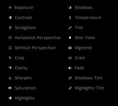 This is the list of adjustments available in VSCO for iOS