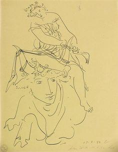 Hans Erni, Minotaurus mit Mädchen. – Familie beim Spiel