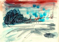 abstract hand draw paint landscape on paper