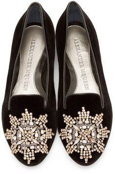 Alexander McQueen Black Embellished Velvet Loafers