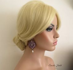Вязание крючком кружева люстра earrings.Earrings светло-фиолетового цвета от EZDessin