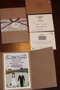 Our DIY Lace Wedding Invitations :  wedding belly band button cartoon diy eggplant inspiration invitations lace plum purple Invitation Suite Blurred Out
